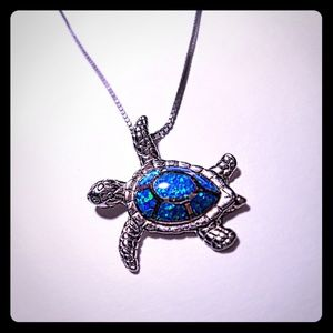 Silver And Blue Opal Seaturtle Necklace